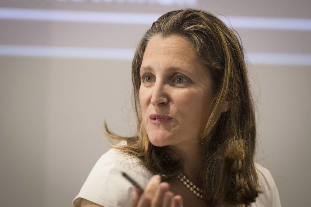Freeland's imprint of foreign affairs remains even if she's shuffled: analysts - Aldergrove Star